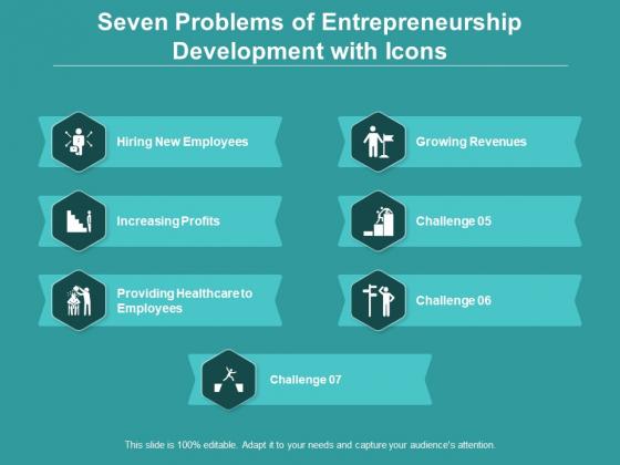 Seven Problems Of Entrepreneurship Development With Icons Ppt PowerPoint Presentation Slides Portrait