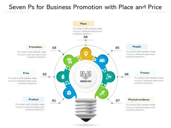 Seven Ps For Business Promotion With Place And Price Ppt PowerPoint Presentation File Show PDF