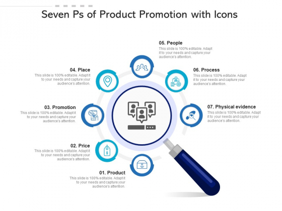 Seven Ps Of Product Promotion With Icons Ppt PowerPoint Presentation Icon Diagrams PDF