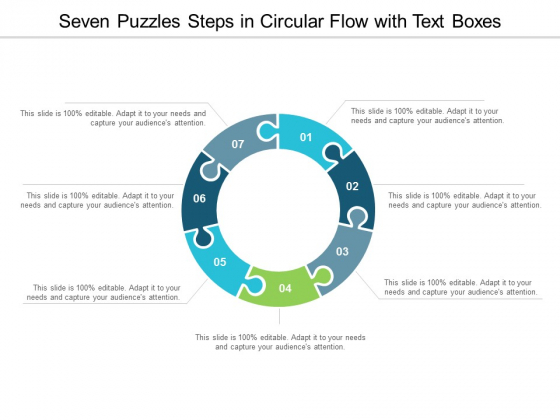 Seven Puzzles Steps In Circular Flow With Text Boxes Ppt Powerpoint Presentation Model Templates