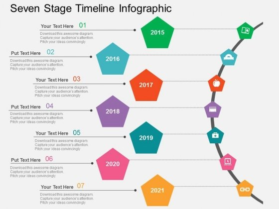 Seven Stage Timeline Infographic Powerpoint Templates