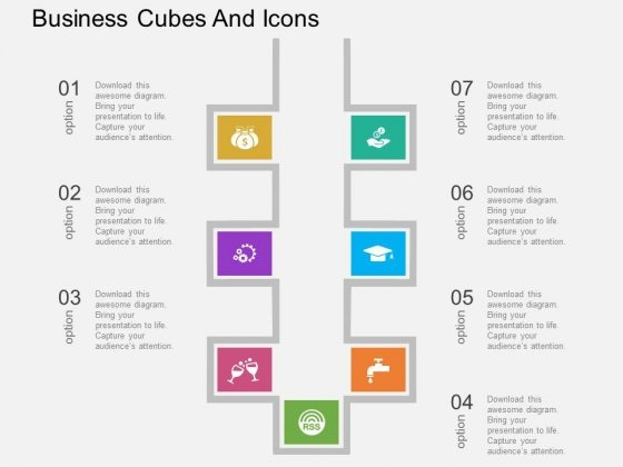 Seven Staged Business Cubes And Icons Powerpoint Template