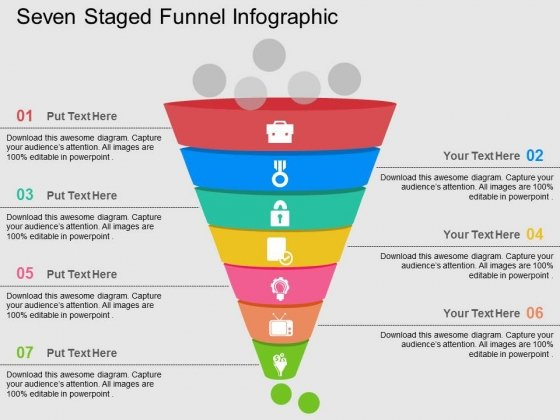 Seven Staged Funnel Infographic Powerpoint Templates