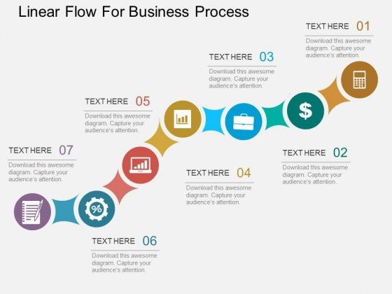 Seven Staged Linear Flow For Business Process Powerpoint Template