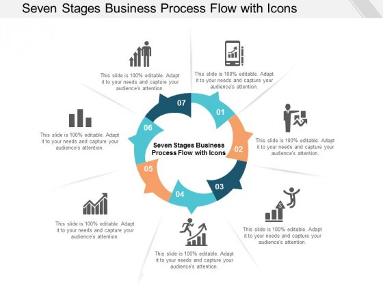Seven Stages Business Process Flow With Icons Ppt Powerpoint Presentation File Graphics Tutorials