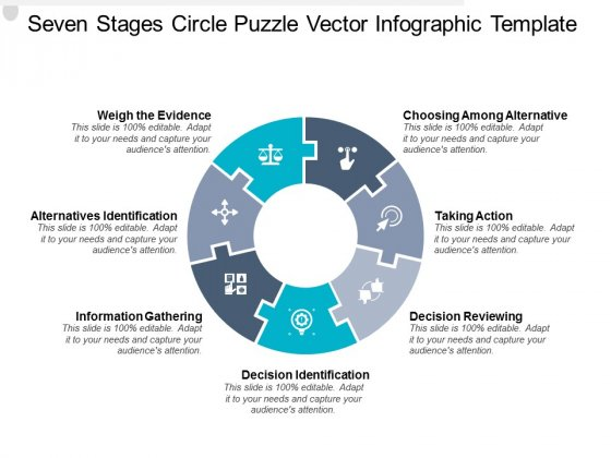 Seven Stages Circle Puzzle Vector Infographic Template Ppt