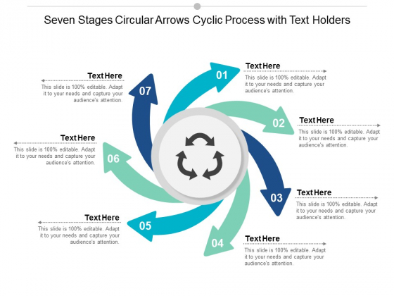 Seven Stages Circular Arrows Cyclic Process With Text Holders Ppt Powerpoint Presentation Ideas Template