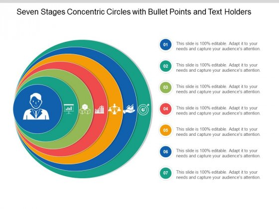 Seven Stages Concentric Circles With Bullet Points And Text Holders Ppt Powerpoint Presentation Layouts Background Designs
