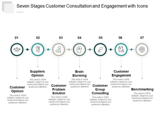 Seven Stages Customer Consultation And Engagement With Icons Ppt Powerpoint Presentation Slides Graphics