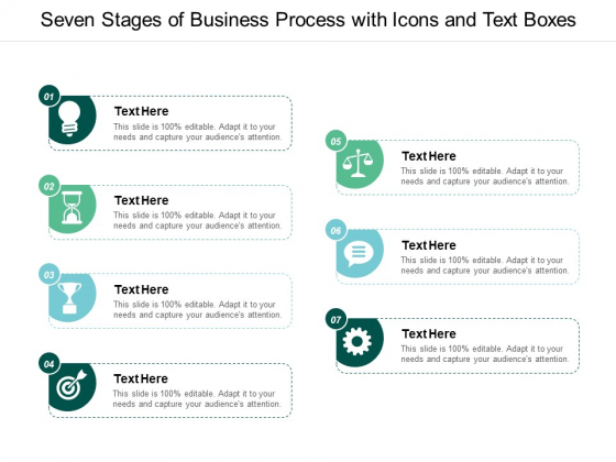 Seven Stages Of Business Process With Icons And Text Boxes Ppt PowerPoint Presentation Professional Microsoft