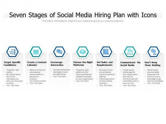 Seven Stages Of Social Media Hiring Plan With Icons Ppt PowerPoint Presentation Gallery Influencers