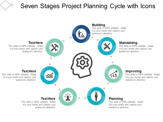 Seven Stages Project Planning Cycle With Icons Ppt Powerpoint Presentation Outline Format