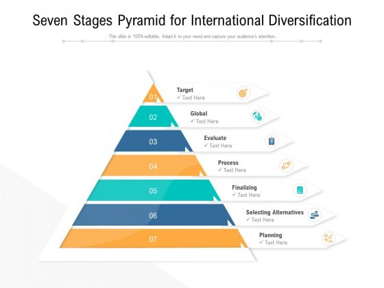 Seven Stages Pyramid For International Diversification Ppt PowerPoint Presentation Infographics Show PDF