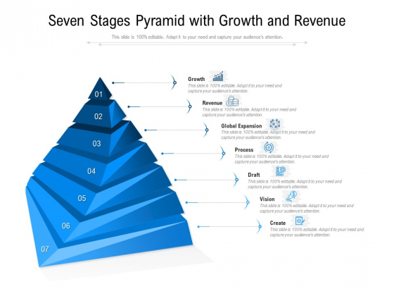Seven Stages Pyramid With Growth And Revenue Ppt PowerPoint Presentation Show Graphics Download PDF