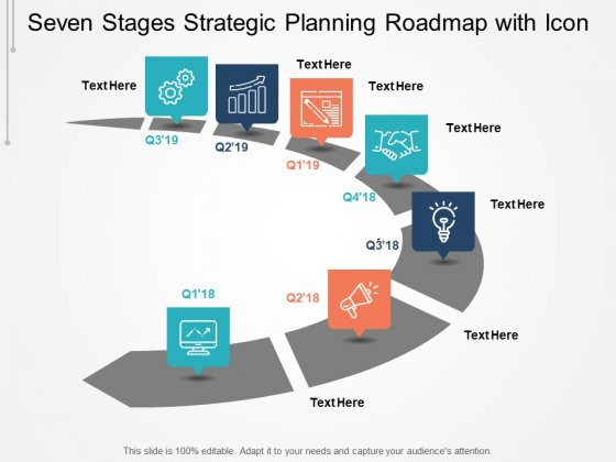 Seven Stages Strategic Planning Roadmap With Icon Ppt PowerPoint Presentation Summary Tips