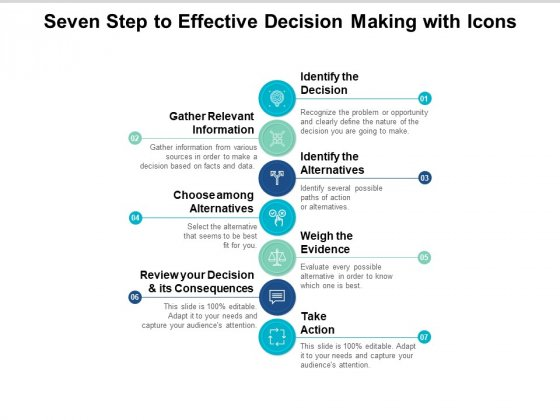 Seven Step To Effective Decision Making With Icons Ppt PowerPoint Presentation Portfolio Slideshow
