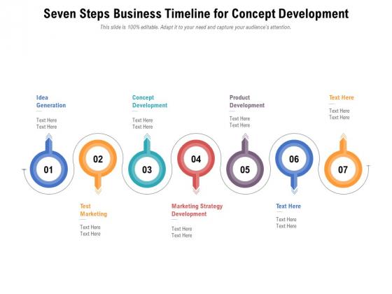 Seven Steps Business Timeline For Concept Development Ppt PowerPoint Presentation File Icon PDF