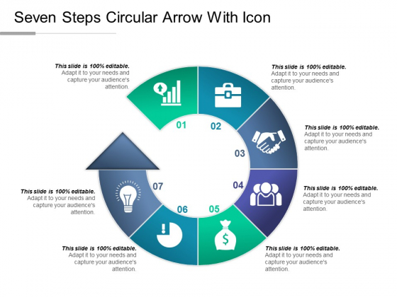 Seven Steps Circular Arrow With Icon Ppt PowerPoint Presentation Icon