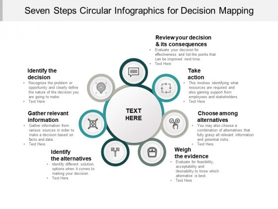 Seven Steps Circular Infographics For Decision Mapping Ppt PowerPoint Presentation Icon Designs