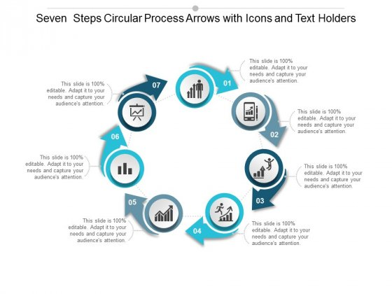 Seven Steps Circular Process Arrows With Icons And Text Holders Ppt Powerpoint Presentation Show Clipart