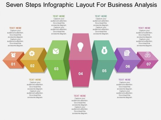 Seven Steps Infographic Layout For Business Analysis Powerpoint Template