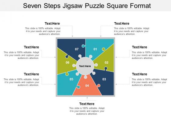Seven Steps Jigsaw Puzzle Square Format Ppt PowerPoint Presentation Portfolio Portrait