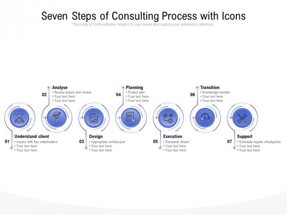 Seven Steps Of Consulting Process With Icons Ppt PowerPoint Presentation Show Background Designs