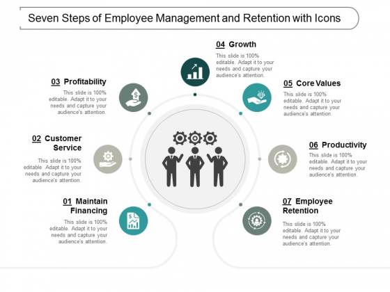 Seven Steps Of Employee Management And Retention With Icons Ppt Powerpoint Presentation Summary Microsoft