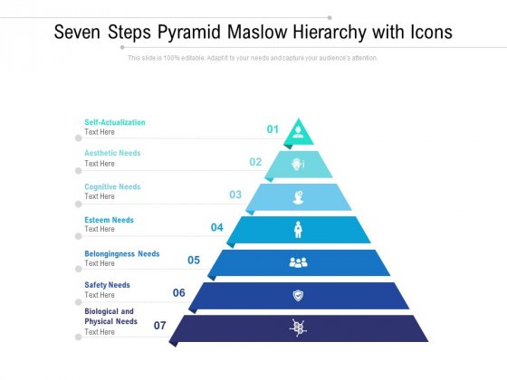 Seven Steps Pyramid Maslow Hierarchy With Icons Ppt PowerPoint Presentation Portfolio Designs Download PDF