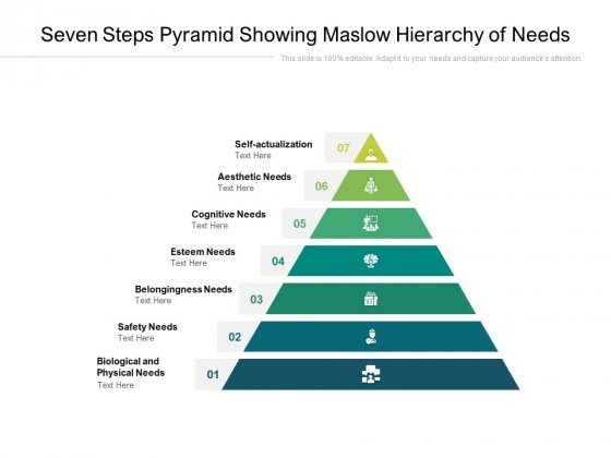 Seven Steps Pyramid Showing Maslow Hierarchy Of Needs Ppt PowerPoint Presentation Styles Portfolio PDF