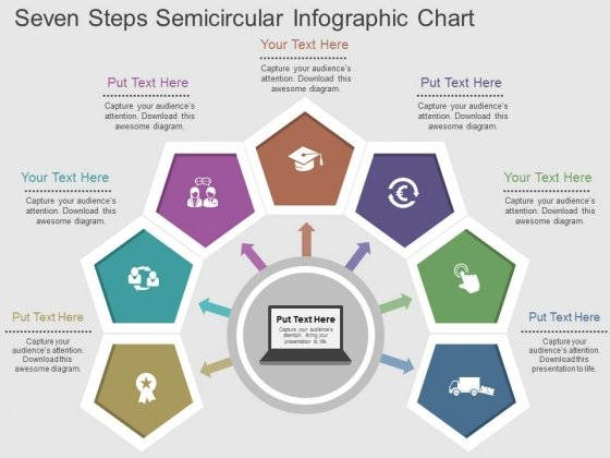 Seven Steps Semicircular Infographic Chart Powerpoint Template