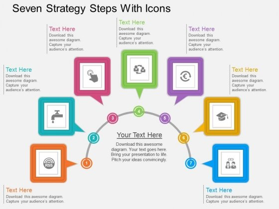 Seven Strategy Steps With Icons Powerpoint Template