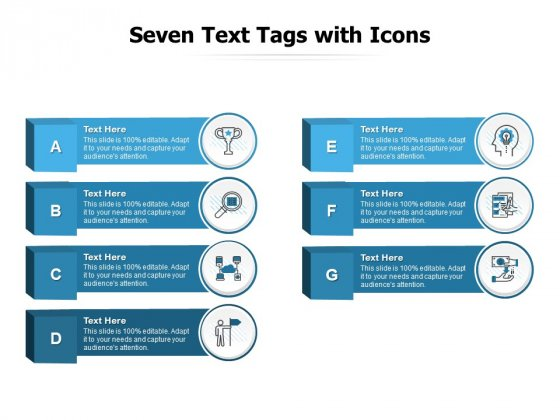 Seven Text Tags With Icons Ppt PowerPoint Presentation Pictures Vector