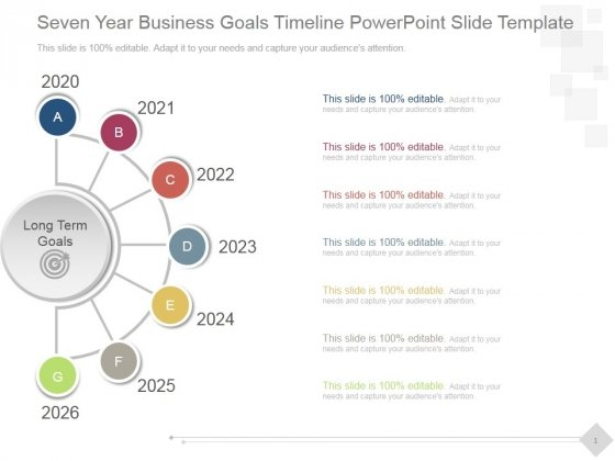 Seven Year Business Goals Timeline Ppt PowerPoint Presentation Template