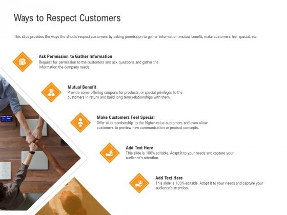 Shared Values In An Organization Ways To Respect Customers Ppt PowerPoint Presentation Gallery Slide Portrait PDF