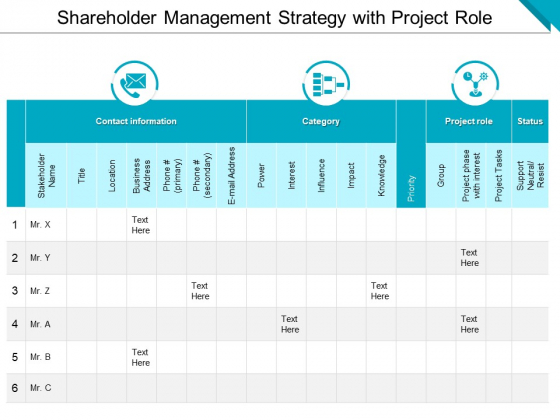 Shareholder Management Strategy With Project Role Ppt PowerPoint Presentation File Deck PDF