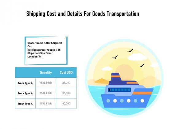 Shipping Cost And Details For Goods Transportation Ppt PowerPoint Presentation Professional Topics PDF