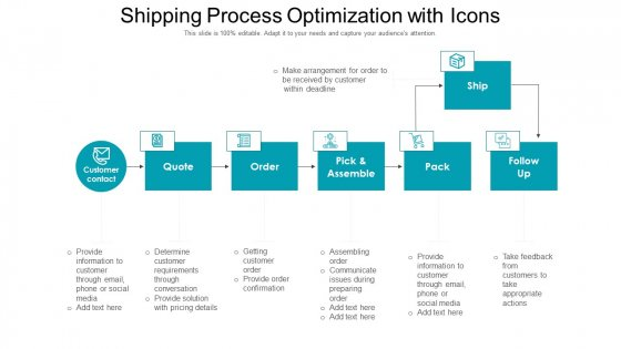 Shipping Process Optimization With Icons Ppt Styles Topics PDF