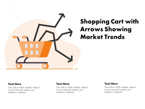 Shopping Cart With Arrows Showing Market Trends Ppt PowerPoint Presentation Show Guidelines