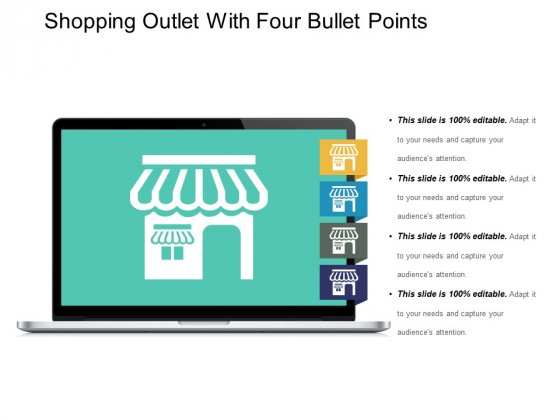 Shopping Outlet With Four Bullet Points Ppt PowerPoint Presentation Styles Outline
