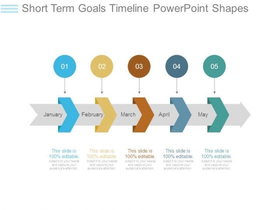 short term goals timeline powerpoint shapes powerpoint templates