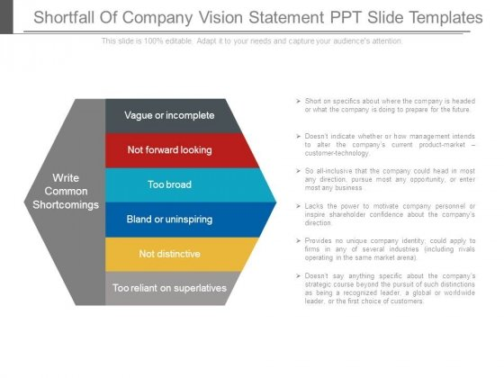 Shortfall Of Company Vision Statement Ppt Slide Templates