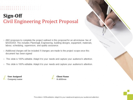 Sign Off Civil Engineering Project Proposal Ppt Styles Graphics PDF