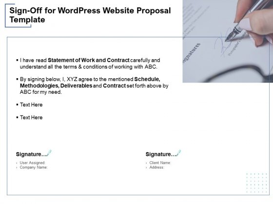 Sign Off For Wordpress Website Proposal Template Ppt PowerPoint Presentation Ideas Graphics Pictures