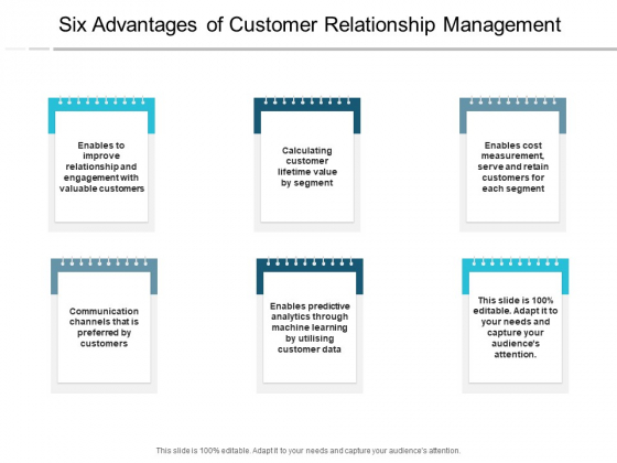 Six Advantages Of Customer Relationship Management Ppt PowerPoint Presentation Portfolio Mockup