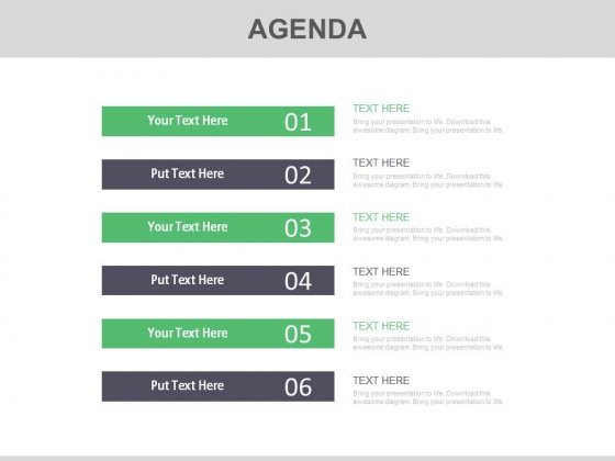 Six Agenda Steps For Productive Meeting Powerpoint Slides
