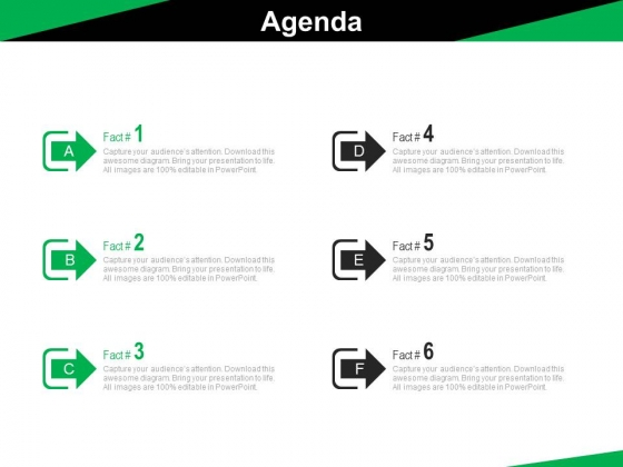 Six Arrow Steps For An Agenda Powerpoint Slides