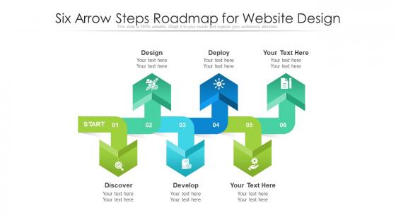 Six Arrow Steps Roadmap For Website Design Ppt PowerPoint Presentation File Show PDF