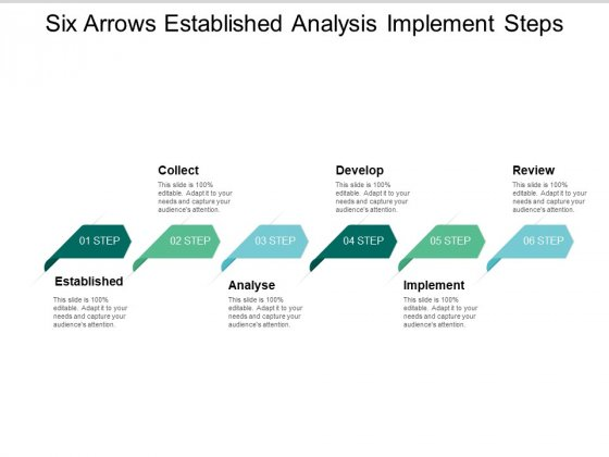 Six Arrows Established Analysis Implement Steps Ppt PowerPoint Presentation Gallery Brochure