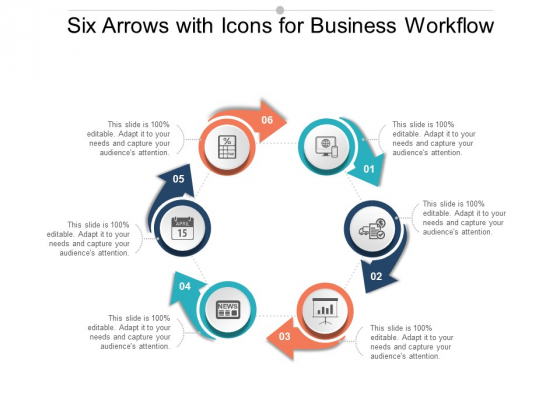 Six Arrows With Icons For Business Workflow Ppt Powerpoint Presentation Portfolio Brochure
